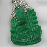 Image for Natural B Jadeite 18Kt white gold Pendant Chinese Ship