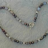 Image for Mother of Pearl and Pearl Silver Bali Bead Necklace