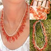 Image for Natural Undyed Branch Coral and Angel Skin Coral Necklace Sterling Silver Clasp
